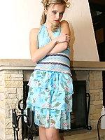 Kristina Fey in a sexy blue dress