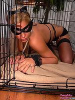 Naughty Sarah in cat woman suit